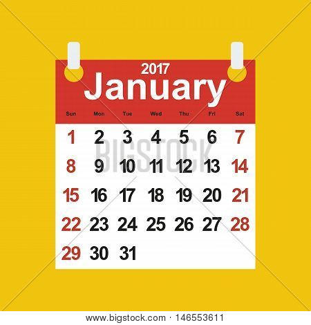 Leaf calendar 2017 with the month of January days of the week and dates poster