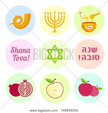 Jewish new year Rosh Hashanah. Set of symbols shofar, menorah, honey, pomegranate, apple and Magen David. Vector illustration