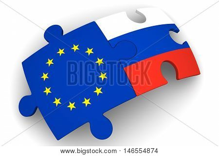 Cooperation between Russia and European Union. Puzzles with flags of the Russian Federation and European Union on a white surface. The concept of coincidence of interests in geopolitics. Isolated. 3D Illustration