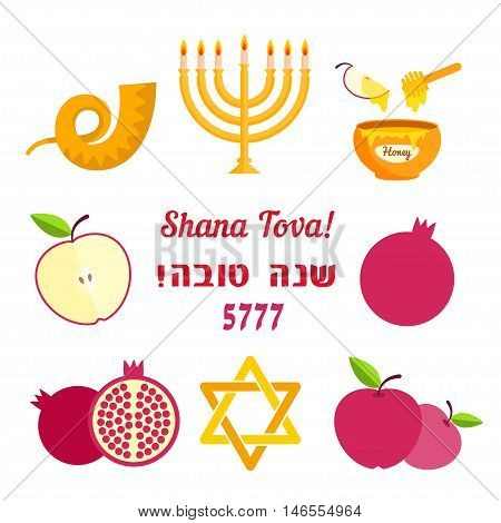 Jewish new year Rosh Hashanah. Shana tova. Set of symbols shofar, menorah, honey, pomegranate, apple and Magen David. Vector illustration