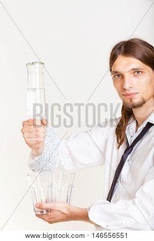 Bartender Fills Glass From Bottle.