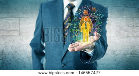 Human resources manager is showing a candidate with growth potential in his open left palm of hand. Concept for personal development professional coaching talent acquisition and headhunting.