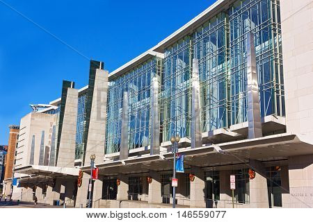 WASHINGTON DC USA - DECEMBER 7: Facade of The Walter E. Washington Convention Center in Washington DC on December 8 2015. Since 2014 the National Book Festival has been held at the center.