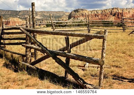 Wooden corral and mountains at Ghost Ranch, New Mexico
