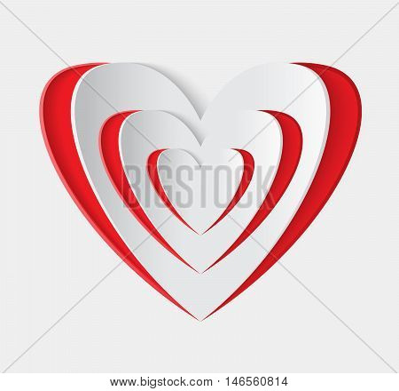 Red heart vector icon. Paper heart symbol. Card for Valentine. Celebrate illustration with cut heart. Isolated design heart. Heart for Valentine's Day. White background with red romantic heart.