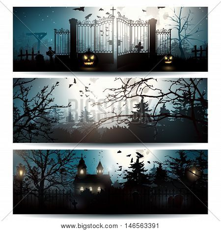 Vector set of three Halloween horizontal banners