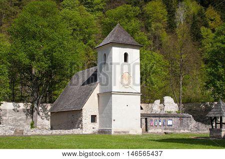 Old church in famous Red Monastery called Cerveny Klastor in Slovakia, near Pieniny mountains.