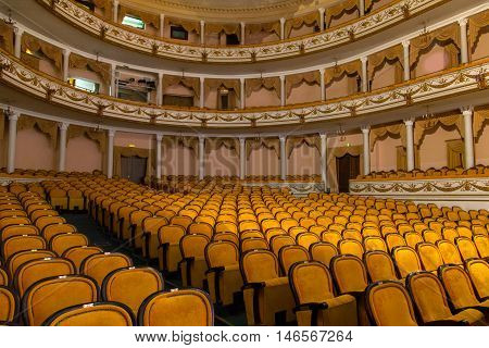 RUSSIA, KALININGRAD - DECEMBER 08, 2015: The interiors of the Kaliningrad Regional Drama Theater. it was built on the foundations of the old Konigsberg theater and opened on 22 April 1960.