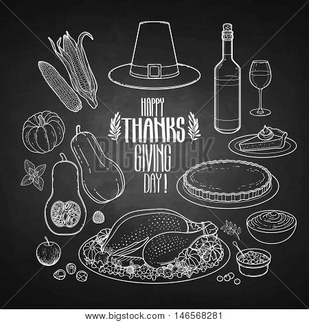 Graphic Thanksgiving day collection drawn in line art style. Vector holiday attributes isolated on the chalkboard