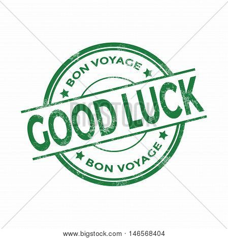 Green good luck Bon Voyage stamp vector