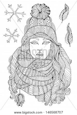 Vector hand drawn fashion girl in a warm knitted hat and voluminous scarf, autumn winter season. Pattern for coloring book A4 size. Coloring book for adults. Zentangle drawing.