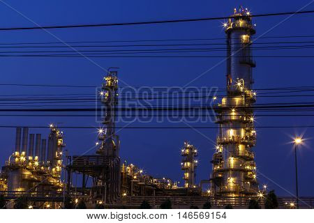 Petrochemical plant at twilight with beautiful light.