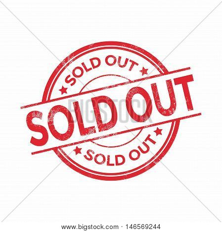 Sold out red rubber stamp isolated. vector illustration