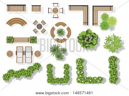 Set of vector wooden benches and treetop symbols. Collection for landscaping top view plan