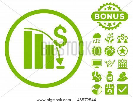 Epic Fail Chart icon with bonus. Vector illustration style is flat iconic symbols, eco green color, white background.