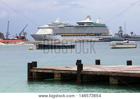 PHILIPSBURG - AUGUST 2: Royal Caribbean ``Adventure Off The Seas`` boat docking near  Great Bay walkway in Philipsburg, seen in St.Maarten on August 2, 2015