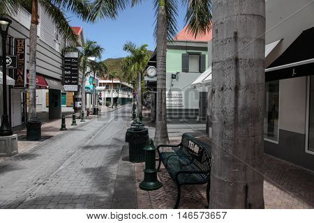 PHILIPSBURG, CARRIBEAN - AUGUST 2:  Shopping area on Back Street in Philipsburg in August 2, 2015 in St.Maarten, Caribbean Island.