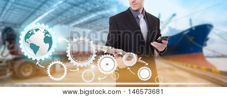 Businessman with clipboard and telephone ,supply chain management logistics concept,import export background.