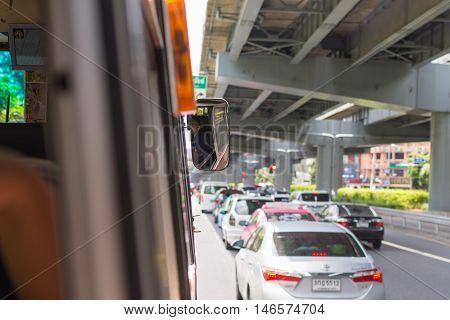 Bus Driver Drives Bus In Bangkok