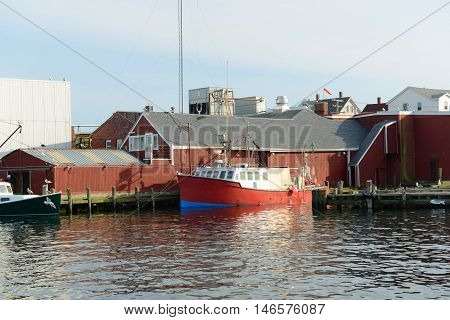 Fishing Boat at port of Gloucester city, Gloucester, Massachusetts, USA.