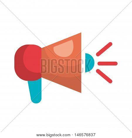 megaphone speaker loud amplifier device. bullhorn communication object. vector illustration