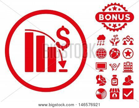 Epic Fail Chart icon with bonus. Vector illustration style is flat iconic symbols, red color, white background.