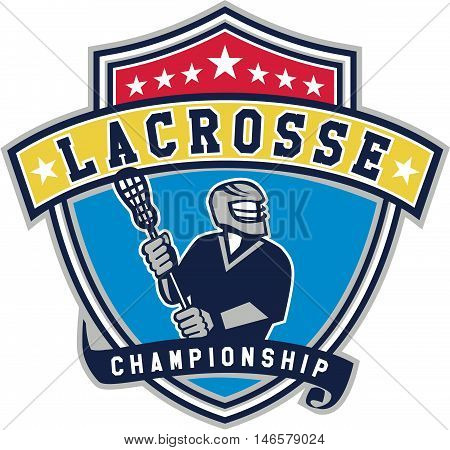 Illustration of a lacrosse player holding a crosse or lacrosse stick looking to the side viewed from front set inside shield crest with ribbon with the words text Lacrosse Championship.