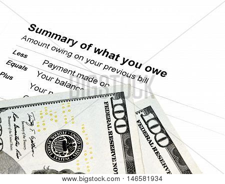 Summary Of What You Owe Statement With Us Currency
