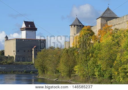 The old Ivangorod fortress and castle Herman, september day