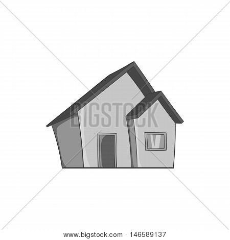 One storey house icon in black monochrome style isolated on white background. Building symbol vector illustration