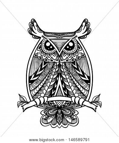 Owl in Zen-doodle or  Zen-tangle decorative style handmade black on white for coloring page or relax coloring book for adult or wallpaper or for decorate package clothes or for logotype