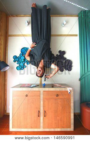 PHUKET THAILAND ; November 27, 2014 : Baan Teelanka The Up side down house