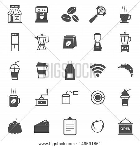 Coffee shop icons on white background, stock vector