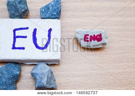 Brexit UK EU referendum concept with word UN and Eng on stone wall