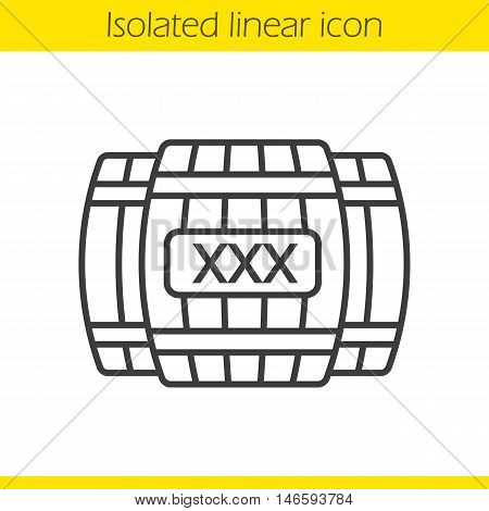Alcohol wooden barrels linear icon. Whiskey or rum barrels with xxx sign. Thin line illustration. Contour symbol. Vector isolated outline drawing