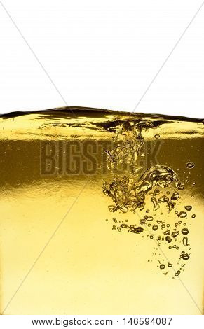 Background of pouring oil on a white background with space for text
