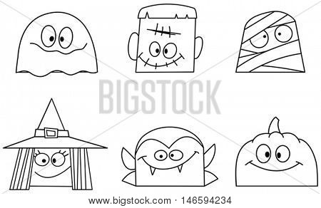 Outlined Halloween character faces set. Ghost, green monster, mummy, witch, vampire and pumpkin. Vector illustration coloring page.