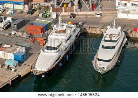 JUNE 18 2011 - BARCELONA SPAIN: Aerial view on luxury large super yacht in Barcelona city port