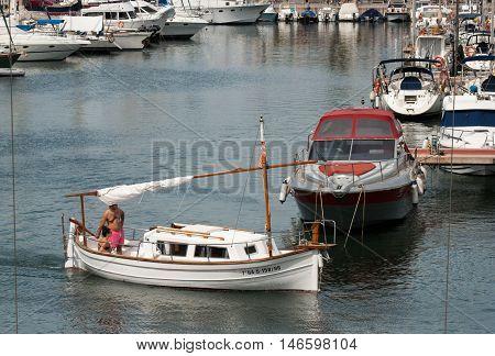 JUNE 18 2011 - BARCELONA SPAIN: The little yacht entrance to Port Olimpic at Barcelona Spain