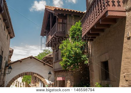 JUNE 18 2011 - BARCELONA SPAIN: The Spanish town (Poble Espanyol) is an architectural museum in Barcelona Spain