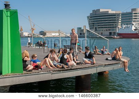 JUNE 14 2011 - BARCELONA SPAIN: The young people in Port Olimpic at Barcelona Spain