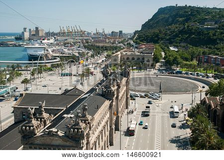 JUNE 14 2011 - BARCELONA SPAIN: Top view on Barcelona Port District