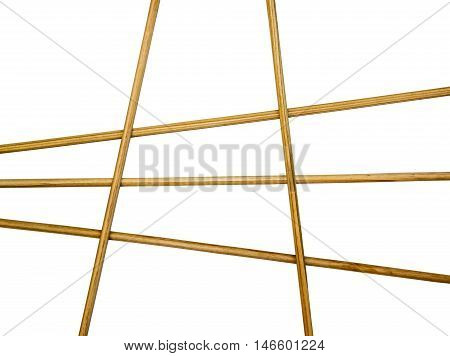 Bamboo sticks lined grille as frame isolated