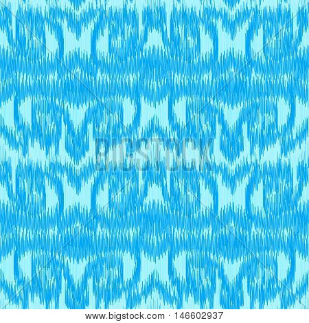 Blue seamless Ikat Pattern with ornamental stripes. Abstract background for textile design wallpaper surface textures wrapping paper.