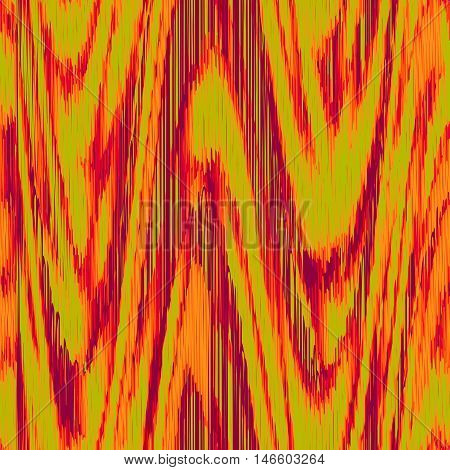 Seamless Ikat Pattern with red and green waves. Abstract background for textile design wallpaper surface textures wrapping paper.