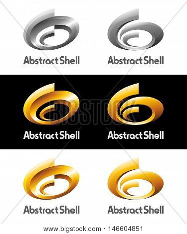 3d vector logos and icons design as abstract spriral shell shining