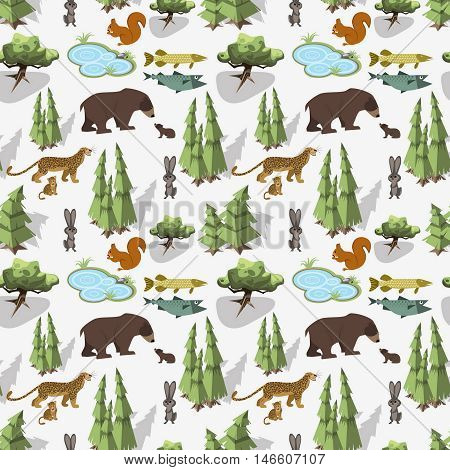 Isometric seamless pattern. Hiking in the forest and wild animals Weekend in nature. Vector illustration