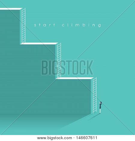 Business woman at the start of her working career. Corporate ladder concept and symbol of women emancipation. Eps10 vector illustration.