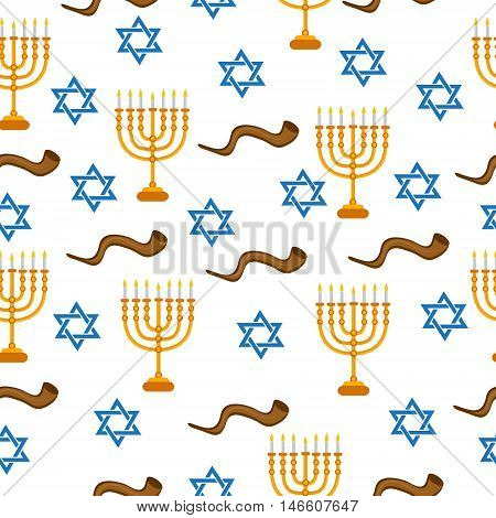 Menorah Shofar and Star of David seamless pattern texture. Menorah Shofar and Star of David background wallpaper fabric. Vector illustration.