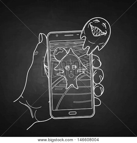 Graphic hand holding smartphone with GPS navigation and fantasy creatures flying out of it. Vector conceptual line art. Trendy outdoor game.